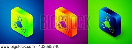 Isometric Chemical Formula For Water Drops H2o Shaped Icon Isolated On Blue, Purple And Green Backgr