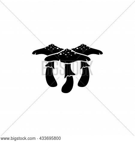 Mushroom Icon. Death Cup Mushroom Illustration. Toadstool Fungi. Halloween Sticker Isolated On White