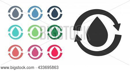 Black Recycle Clean Aqua Icon Isolated On White Background. Drop Of Water With Sign Recycling. Set I