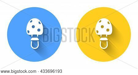 White Amanita Muscaria Or Fly Agaric Hallucinogenic Toadstool Mushroom Icon Isolated With Long Shado
