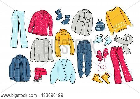 Warm Clothing Set. Winter Casual Clothes For Home, Walking And Relaxing. Cozy Warm Sweaters, Trouser
