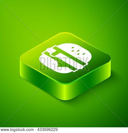 Isometric Burger Icon Isolated On Green Background. Hamburger Icon. Cheeseburger Sandwich Sign. Fast