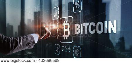 Hand Touching Bitcoin Button. Modern Business Technology Concept. Bitcoin, Ethereum