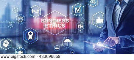 Business Man Writing Business Ethic Concept On Virtual Screen