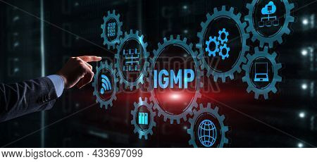 Businessman Is Pushing His Finger On Internet Group Management Protocol. Igmp