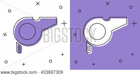 Set Whistle Icon Isolated On White And Purple Background. Referee Symbol. Fitness And Sport Sign. Ve