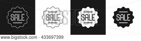 Set Price Tag With An Inscription Sale Icon Isolated On Black And White Background. Badge For Price.