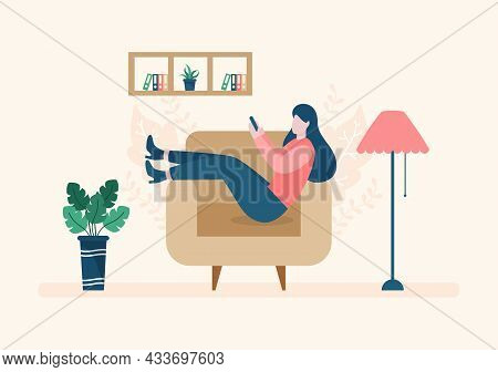 Relax At Home Vector Flat Illustration With People Sitting On The Sofa, Listening To Music, Playing