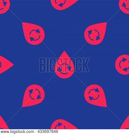 Red Recycle Clean Aqua Icon Isolated Seamless Pattern On Blue Background. Drop Of Water With Sign Re