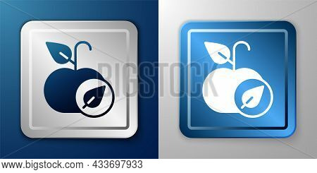 White Apple Icon Isolated On Blue And Grey Background. Excess Weight. Healthy Diet Menu. Fitness Die