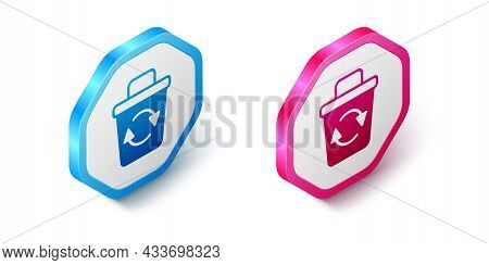 Isometric Recycle Bin With Recycle Symbol Icon Isolated On White Background. Trash Can Icon. Garbage