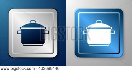 White Cooking Pot Icon Isolated On Blue And Grey Background. Boil Or Stew Food Symbol. Silver And Bl