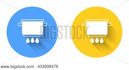 White Cooking Pot On Fire Icon Isolated With Long Shadow Background. Boil Or Stew Food Symbol. Circl