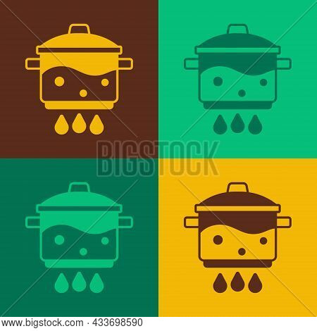 Pop Art Cooking Pot On Fire Icon Isolated On Color Background. Boil Or Stew Food Symbol. Vector