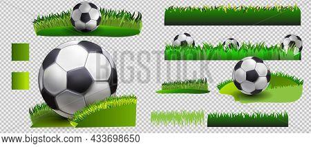 Soccer Set. Vector Banner Of Soccer Ball On Green Grass, And Soccer Ball Isolated On White Backgroun