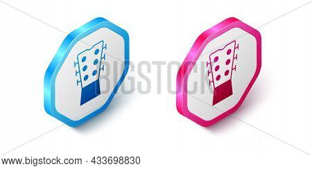Isometric Guitar Neck Icon Isolated On White Background. Acoustic Guitar. String Musical Instrument.