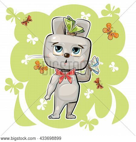 Cartoon Hare And Butterflies. Funny Comic Rabbit Animal. Summer Scenery. Cute Flat Style. Childrens