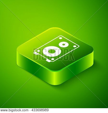 Isometric Stereo Speaker Icon Isolated On Green Background. Sound System Speakers. Music Icon. Music