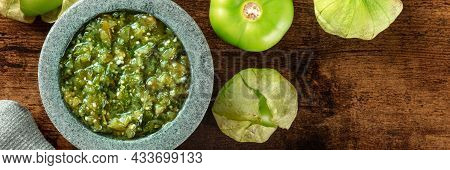 Tomatillos, Green Tomatoes, And Salsa Verde, Green Sauce, Panorama With A Molcajete, Traditional Mex