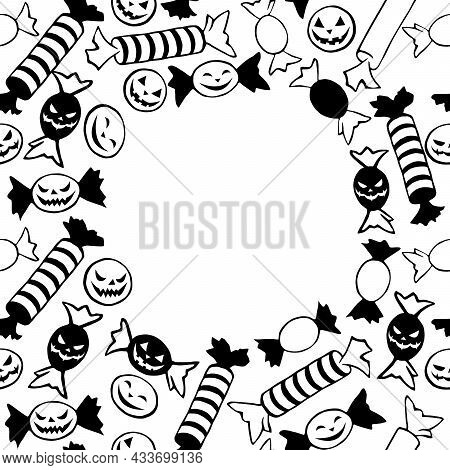 Vector Frame Of Scattered Outline Flat Candies In Different Wrappers In Style Of Halloween. Long Str