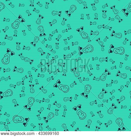 Black Earplugs And Ear Icon Isolated Seamless Pattern On Green Background. Ear Plug Sign. Noise Symb