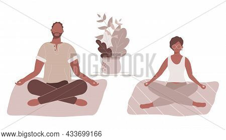 Afro-american Woman And Man In Yoga Lotus Position Doing Meditation, Mindfulness Practice,spiritual