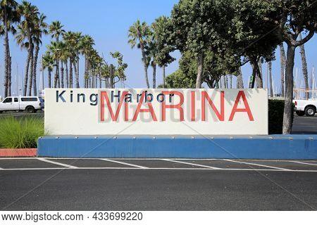 King Harbor Marina. Redondo Beach California. King Harbor Sign. Location Sign.