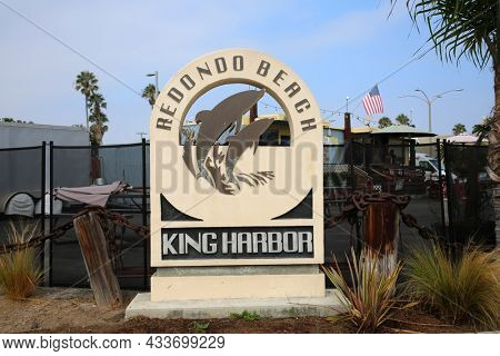 Redondo Beach King Harbor sign. Road sign for the Redondo Beach California King Harbor Location.