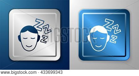 White Dreams Icon Isolated On Blue And Grey Background. Sleep, Rest, Dream Concept. Resting Time And