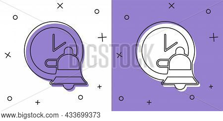 Set Alarm Clock Icon Isolated On White And Purple Background. Wake Up, Get Up Concept. Time Sign. Ve