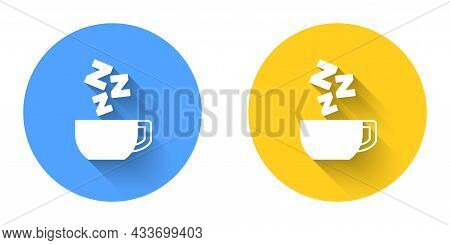 White Chamomile Tea Icon Isolated With Long Shadow Background. A Useful Therapeutic Drink From Flowe