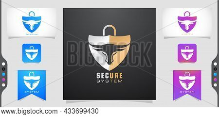 Illustration Of A Secure System, Bull,shield And Lock. Applicable For Logo Protection, Brand Compute