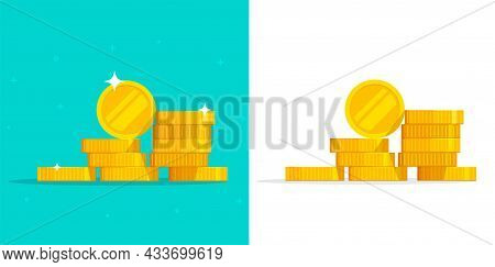 Pile Of Money Coins Vector Illustration Icon Isolated Or Gold Metal Cash Stack Heap Clipart Cut Out