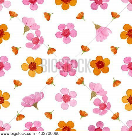 Pink And Orange Petals Of Wax Flower Blossom Seamless Pattern Illustration, Watercolor Flora Paintin