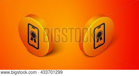 Isometric Online Education With Diploma Icon Isolated On Orange Background. Diploma Online At Home.