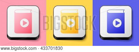 Isometric Audio Book Icon Isolated On Pink, Yellow And Blue Background. Play Button And Book. Audio