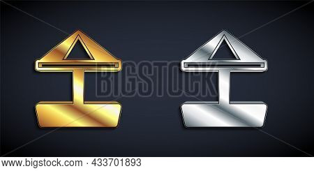 Gold And Silver Sandbox For Kids With Sand And Umbrella Icon Isolated On Black Background. Long Shad