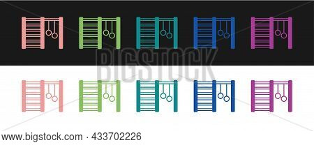 Set Wooden Swedish Wall Icon Isolated On Black And White Background. Swedish Stairs. Vector