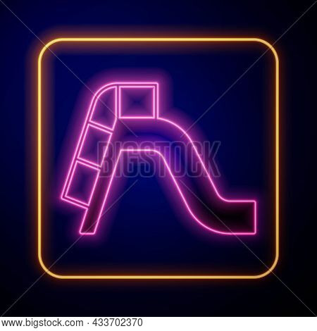 Glowing Neon Slide Playground Icon Isolated On Black Background. Childrens Slide. Vector