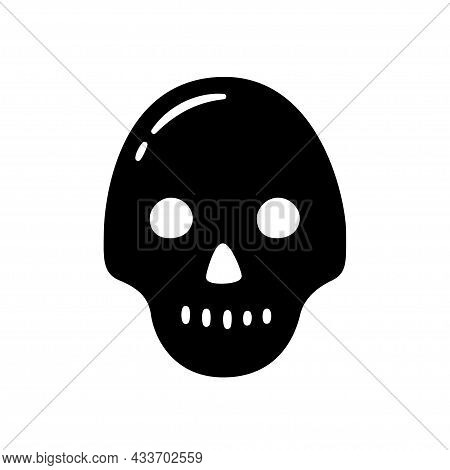 Black Skull. Hand Drawn Symbol Of Pirates, Poison, Death, Hell And Anger. Vector Illustration Isolat