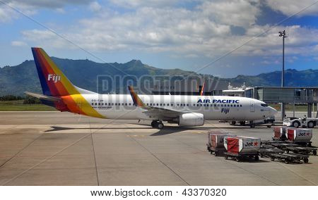 Air Pacific Boeing 737-800 Being Pushed Out At Nadi, Fiji
