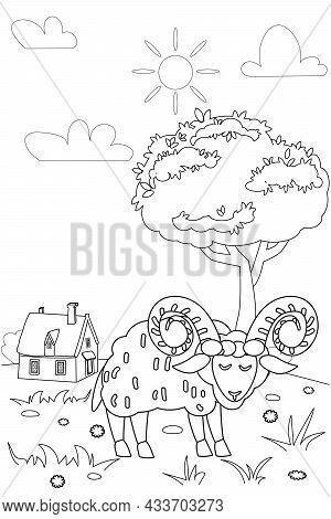 Cute Oven Farm Animals Coloring Book Educational Illustration For Children. Rural Landscape Colourin