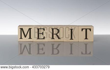 Merit Concept, Wooden Word Block On Grey Background