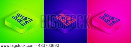 Isometric Line Lederhosen Icon Isolated On Green, Blue And Pink Background. Traditional Bavarian Clo