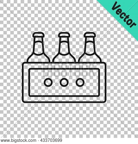 Black Line Pack Of Beer Bottles Icon Isolated On Transparent Background. Wooden Box And Beer Bottles