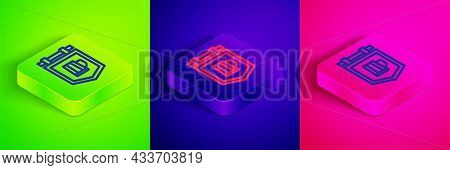 Isometric Line Street Signboard With Glass Of Beer Icon Isolated On Green, Blue And Pink Background.