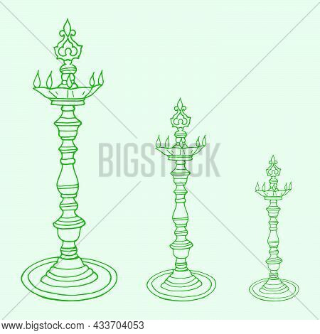 Sketch Of Indian Metal Traditional Oil Lamp Holding In A Hand By Lady Outline Editable Illustration
