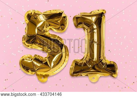 The Number Of The Balloon Made Of Golden Foil, The Number Fifty-one On A Pink Background With Sequin
