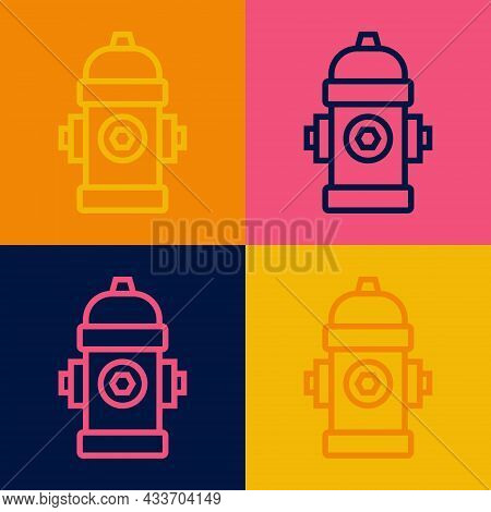Pop Art Line Fire Hydrant Icon Isolated On Color Background. Vector