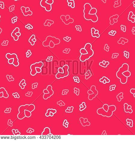 White Line Cloud With Rain Icon Isolated Seamless Pattern On Red Background. Rain Cloud Precipitatio